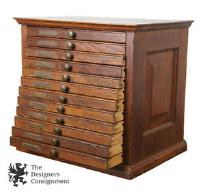 Antique Oak 12 Drawer Dental Medicine Cabinet Apothecary Chest Pharmacy Box 15