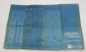 Vintage 1942 Universal Power Shovel Co Unit Original Crane Tap Drill Chart