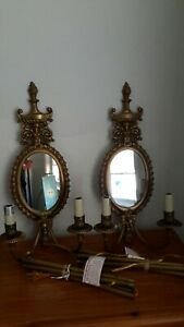 2 Brass Lamp Sconces Electric Vintage Antique Wall Mirror