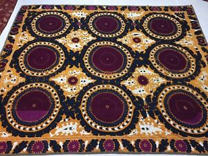 Antique Uzbek Vintage Hand Embroidery Suzani Gift Wall Hanging Quilt Bedding