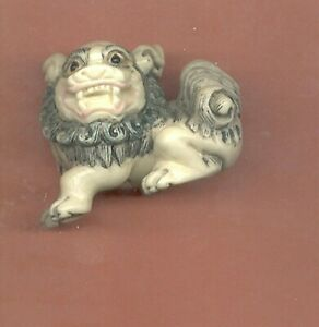 Foo Dog Colored Netsuke Japanese 929 B
