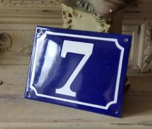 Antique French Traditional Blue White Industrial Enamel Door Gate Sign N 7