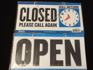 Open Closed Sign Chain 2 Sided 11 5 X 6 Store Business Hours Free Suction Cup