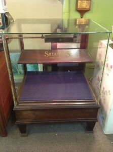 Vintage Sheaffer S Pen Pencils Glass Wood Lighted Store Display Case Cabinet