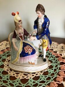 Vintage Sitzendorf Porcelain Figurines Seated Woman W Courting Man