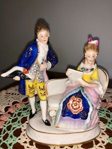 Vintage Sitzendorf Porcelain Figurines Seated Reading Woman W Courtly Man