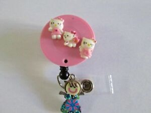 Id Badge Retractable Reel Magnet Or Clip hello Kitty medical nurse pediatric icu