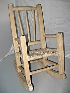 Child S Rocking Chair Primitive Cane Seat Indiana Hickory Chair Antique Euc
