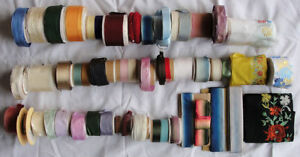 Lot Of 50 Rolls Vintage Imported French Silk Rayon Ribbon Trim Lace