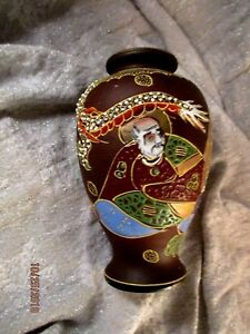 Satsuma Japan Dragon Vase Immortals Moriage Gold Hand Painted Signed 6