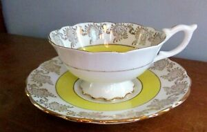 Vintage Guaranteed English Bone China Teacup Saucer Yellow Gold Gilt Filigree