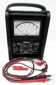 Vintage Simpson Model 260 Series 8 Multimeter W Roll Top Cover Hard Case Leads