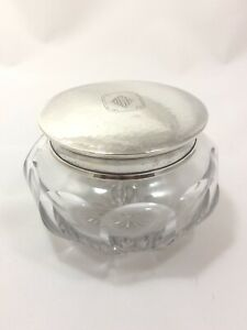 Antique William B Kerr Sterling Silver Cut Glass Powder Dresser Vanity Jar