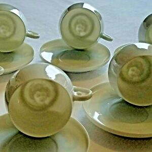 Maryland China Porcelain Garland Geisha Tea Cups And Saucers Lot Of 9
