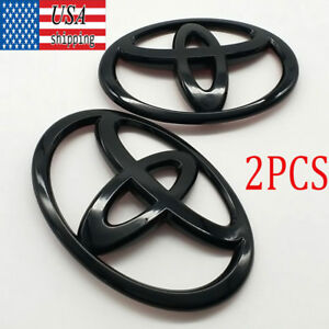 2pcs Glossy Black Front And Rear Car Badge Emblem For Toyota 86 Gt86 Frs