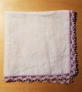 Antique Linen Hankie Intricate Lavender White Crochet Lace 11 3 4 X 11 3 4