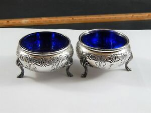 Pair Vintage Hand Chased Sterling Silver Cobalt Glass Open Salts Durham 20th C