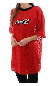 House Of Stars Women's Coca Cola Lace T Shirt Dress With Logo Red