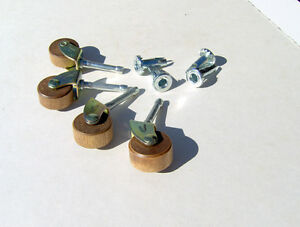 Set Of 4 Replacement Wooden Casters Wheels Rollers Quality Reproduction Parts
