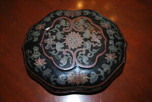 Very Old Extra Large Oriental Chinese Paper Mache Lacquer Table Cabinet Oval Box