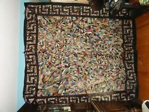 Antique Victorian Antique Hand Sewn Silk Crazy Quilt Large 84 X 92