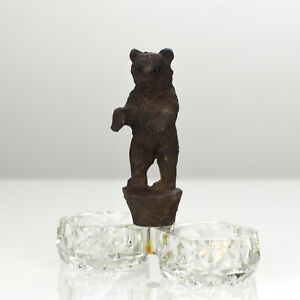 Antique Carved Wood Bear Figurine Salt Spice Cellar Brienz Black Forest