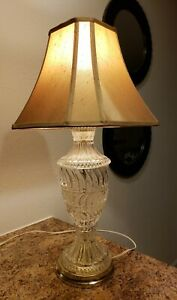 Mid Century Table Lamp Diamond Cut Pressed Clear Glass With Shade