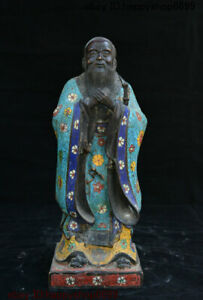 Chinese Bronze Cloisonne Thinker Politician Confucius Kong Zi Sword Stand Statue