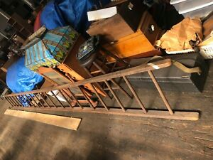 Vintage Old Antique 20ft Wooden Ladder Great Cond