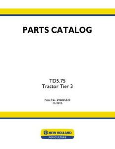 New Holland Td5 75 Tractor Tier 3 Parts Catalog