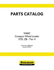 New Holland W60c Compact Wheel Loader Std Zb Tier 4 Parts Catalog