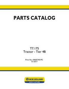 New Holland T7 175 Tractor Tier 4b Parts Catalog