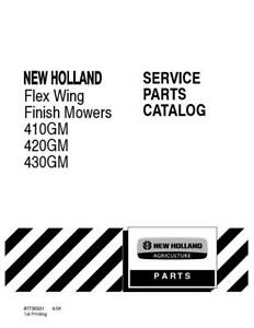 New Holland 410gm 420gm 430gm Flex Wing Finish Mower Parts Catalog