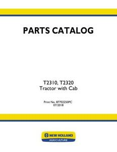 New Holland T2310 t2320 Tractor With Cab Parts Catalog