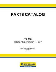 New Holland T7 260 Tractor Sidewinder Tier 4 Parts Catalog