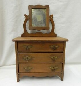 Vintage Antique Wood Doll Dresser W Mirror 3 Drawers 20 Tall Oak