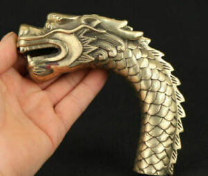 Chinese Old Copper Hand Carved Ferocity Dragon Statue Walking Stick Head Ws01