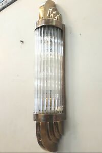 Old Vintage Art Deco Skyscraper Brass Glass Rod Ship Light Wall Sconces Lamp