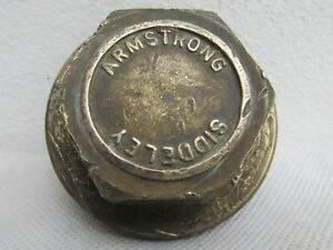 Old Armstrong Siddeley Car Screw In Brass Threaded Grease Hubcap Center Cap