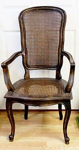 Vintage French Provincial Carved Wood Cane Back And Seat Arm Chair