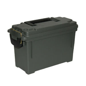 Set of 2 - Plastic Flip Top Ammo Box Can Storage Military Safety Box