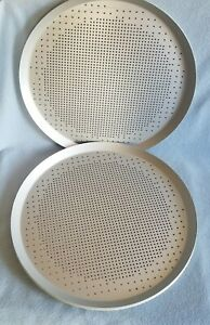4 New Pizza Hut 14 Large Baking Pans Perforated Holes Commercial Restaurant