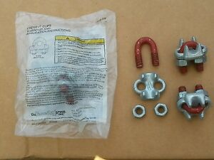 Crosby Lot Of 10 G 450 Red 1010097 3 8 Wire Rope Cable Clamps