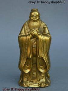 Chinese Copper Brass Thinker Politician Confucius Kongzi Hold Sword Stand Statue