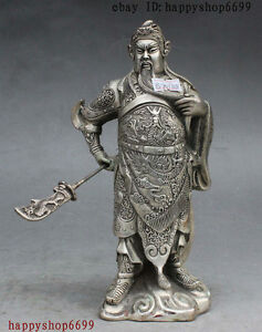 8 Folk Chinese Silver Stand Warrior Dragon Guan Gong Yu God Sword Wealth Statue