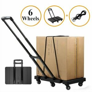 Foldable 6 Wheel Hand Trolley Extendable Flat Luggage Cart With 3 fold Handle Vp