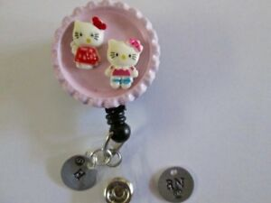 Id Badge Retract Reel Magnet Or Clip hello Kitty engrave medical er rn nurse