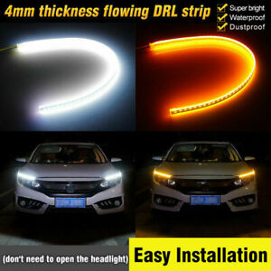 2x45cm White Amber Thin Car Led Strip Daytime Running Light Turn Signal Lamp Drl