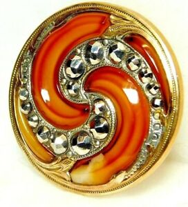 Spectacular Antique 19th C Button Amber Art Glass In Brass With Cut Steels