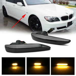 2x Smoke Fender Side Marker Light Amber Led For 2002 2008 Bmw E65 e66 7 Series